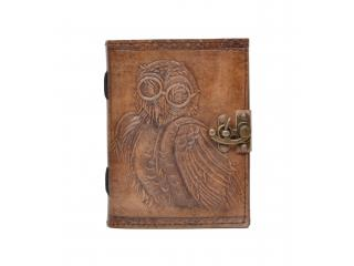 New Charcoal Colour Genuine Handmade Owl Embossed Vintages Blank Paper Notebook Leather Journal Diary