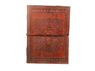Embossed Celtic  Leather Hardbound Journal Swing Clasps Handmade Paper Beautiful Leather Brown Journal Book