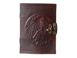 Handmade Leather Rounded Dragon Diary Journal Unlined Pages Handmade Leather Cover Embossed Journals Pockets Diary Sketchbook & Notebook