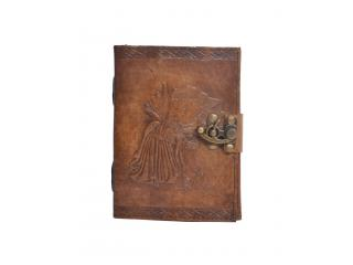 Handmade Charcoal Antique Angel  Embossed Leather note book journal handmade book Embossed Note Book Diary