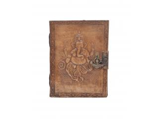 Handmade Vintage New Antique Design Ganesh Embossed Leather Journal Notebook Charcoal Color Journals 7x5 Inches Notebook
