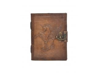 Handmade Vintage New Antique Design Unicorn Embossed Leather Journal Notebook Charcoal Color Journals 7x5 Inches Notebook