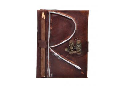 New Genuine Handmade Leather Journal Antique R shape Journal Notebook