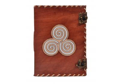 Handmade Genuine Vintage Leather Journal Celtic Triskele Embroidery Design Blank Unlined Paper Leather Journal Notebook