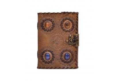 New Vintage Genuine Handmade Leather Journal Beautiful 4 Stone Embossed Leather Journal Notebook