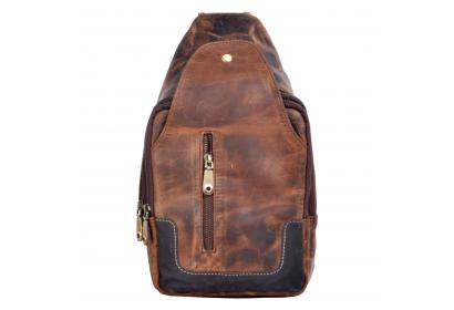 Vintage Crazy Horse Leather Sling Chest Mens Backpack  Messenger Bag