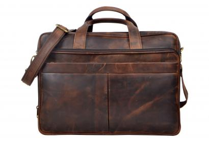Vintage Handmade Men's Hunter Leather Cowhide Briefcase Laptop Messenger Bag