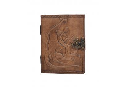 Handmade Charcoal Antique dragon of the angel  Embossed Leather note book journal handmade book Embossed Note Book Diary