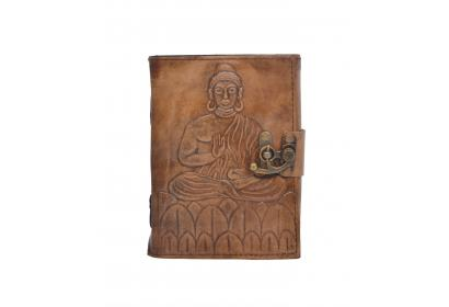 Antique Design Handmade Buddha Embossed Leather Journal Notebook Charcoal Color Journals Notebook & Sketchbook