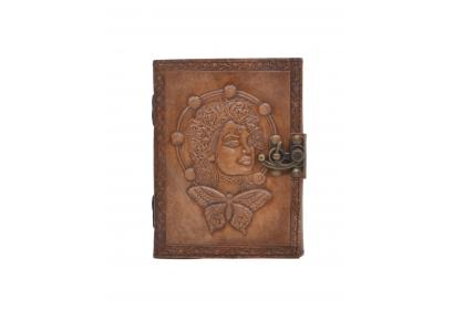 Handmade Antique Design Butterfly Queen Embossed Leather Journal Charcoal Color Journals Notebook & Sketchbook