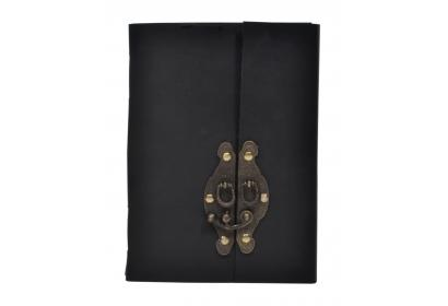Hardcover Blank Paper Notebook With Antique Brass lock Latch Clasp Authentic Genuine Leather Journal With Lock Diary
