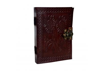 Firu Leather Diary Flower Embossed Handmade Paper Blank Leather Bound Journal