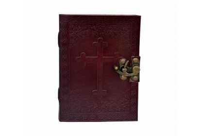 Leather Embossed Celtic Cross Journal - Personal Leather Writing Diary Notepad