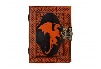 Celtic Dragon Leather Journal Note Book Orange with Black Color Book of Shadow Dairy
