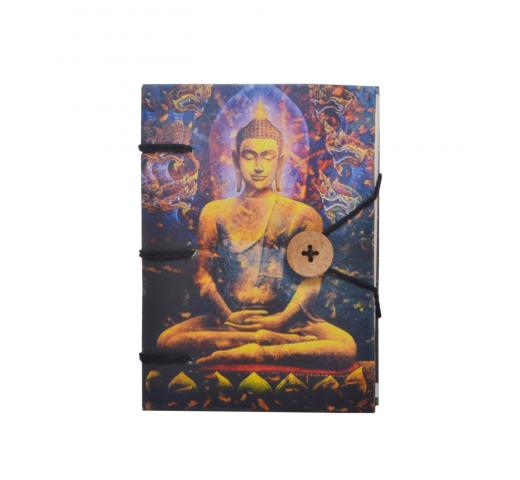 Handmade Notebook Writing Journal for Unisex | Ruled Hardcover Travel Diary with Beautiful Buddha Hard Paper Print, Small Sized, Premium Paper - 120 Pages