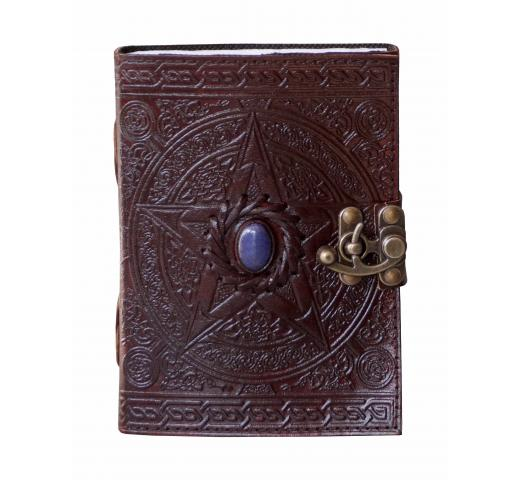 Handmade Pentagram Leather Journal With Single Stone Sketchbook & Notebook